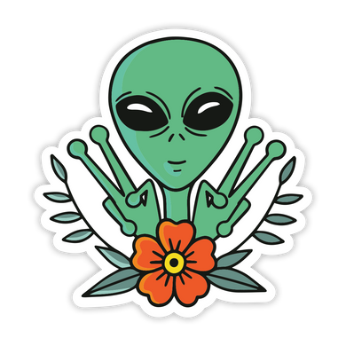 Peace Out Alien Sticker