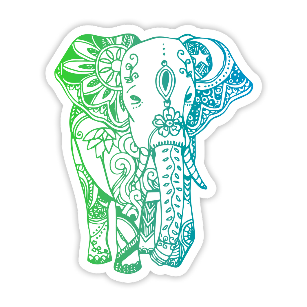 Boho Elephant - Green/Blue Sticker