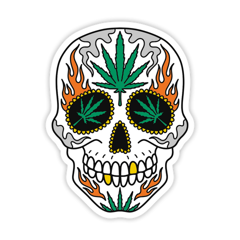 Leaf Skull Sticker