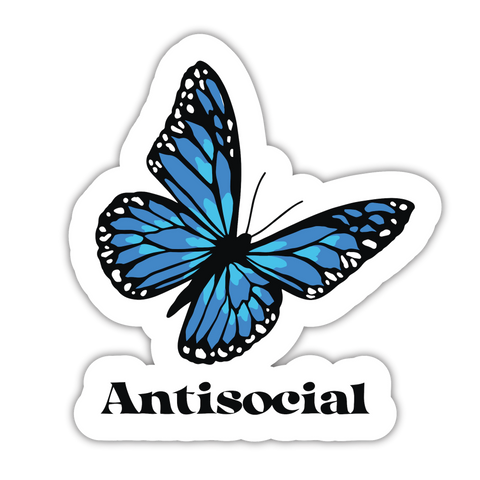 Antisocial Blue Sticker