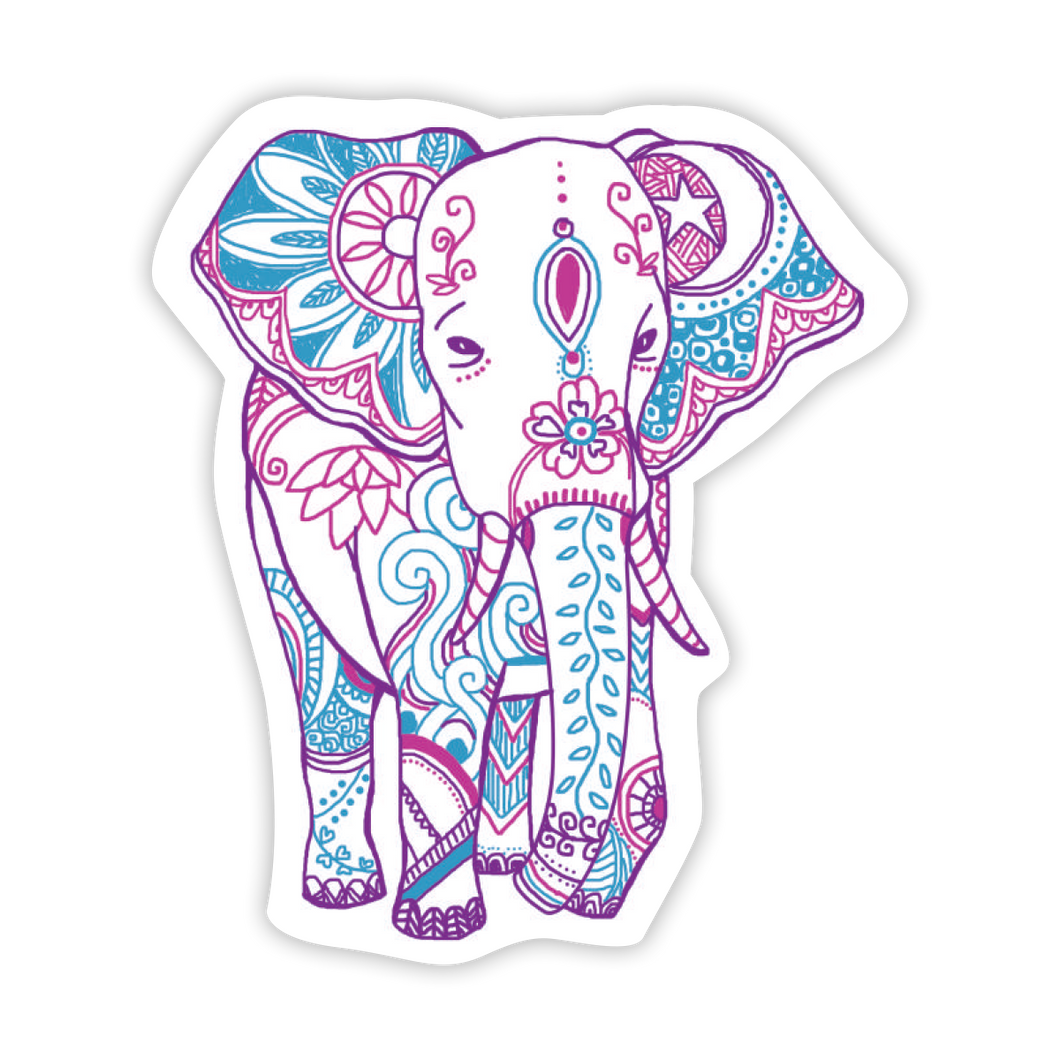 Boho Elephant - Purple/Blue Sticker