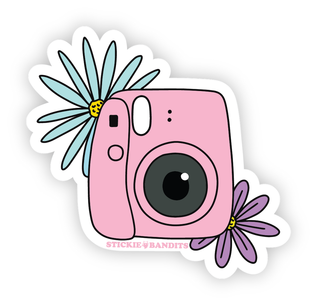 Camera Flowers Sticker