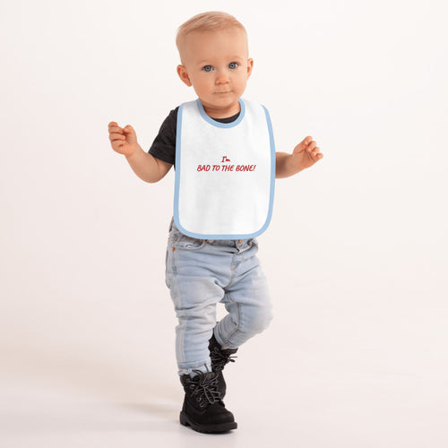 Bad To The Bone Embroidered Baby Bib