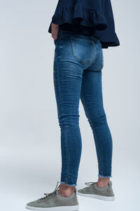 Blue skinny jean with embroideries - CalicoMarket