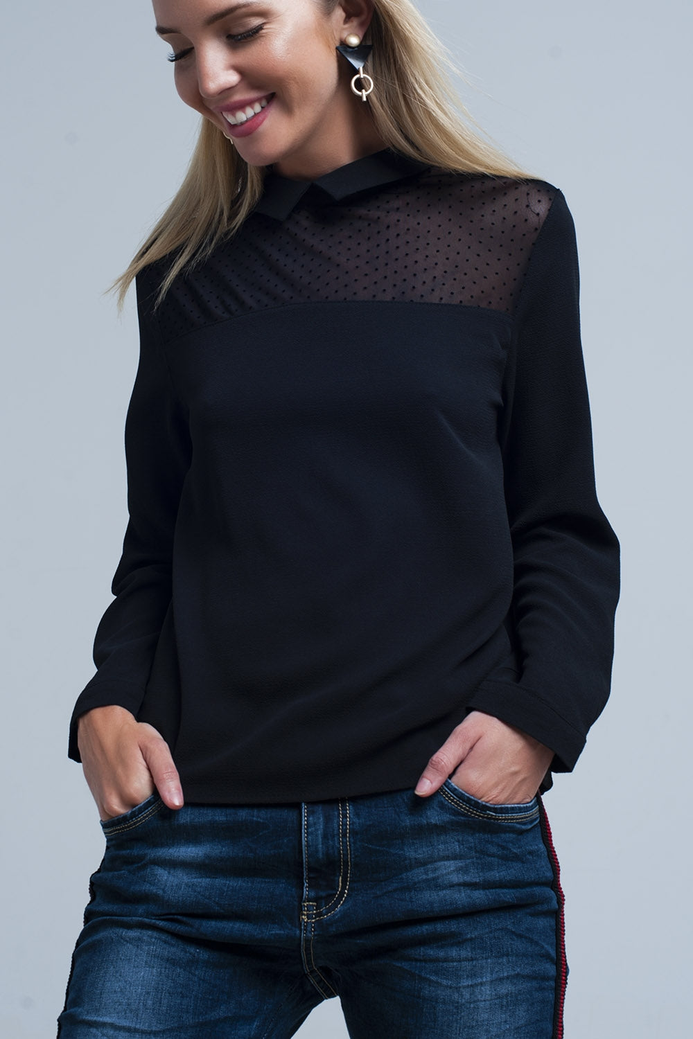 Black shirt with transparent polka dots detail - CalicoMarket