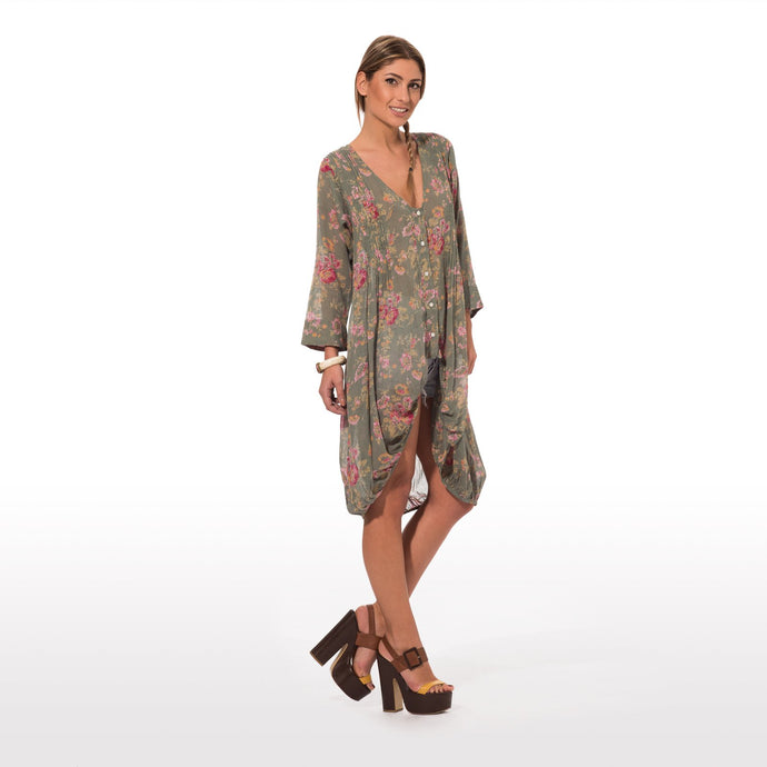 Dress with floral print dark green base long at the back short in the front - CalicoMarket