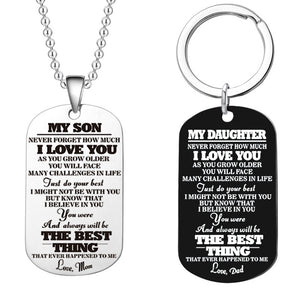 Popular Stainless Steel Dog Label Military Necklace Comes from Love Mom and Dad - Son - Daughter Birthday Graduation Holiday Gif - CalicoMarket