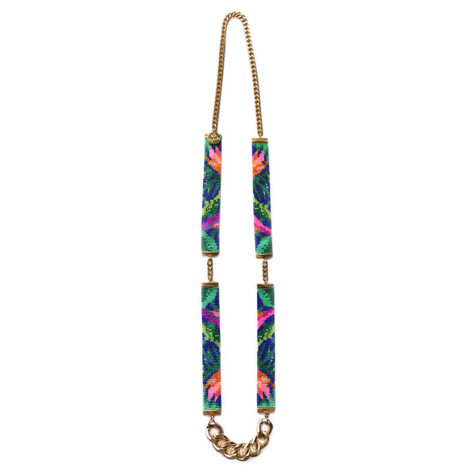 Tropic Exotic Floral Jungle Print Beaded Necklace - CalicoMarket