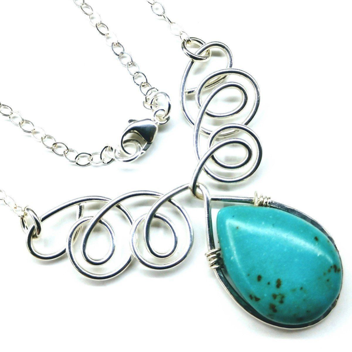 As Seen On TV Turquoise Drop Sterling Silver Wire Wrapped Necklace - CalicoMarket