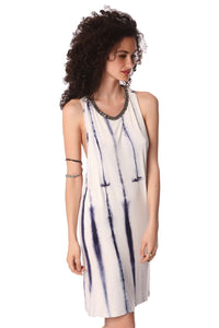 Blue slip dress in tie dye - CalicoMarket