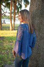 Load image into Gallery viewer, Blue Lace Sleeve Flowy Top- Avadi Original - CalicoMarket