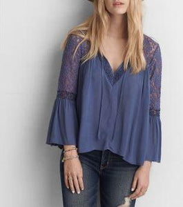 Blue Lace Sleeve Flowy Top- Avadi Original - CalicoMarket