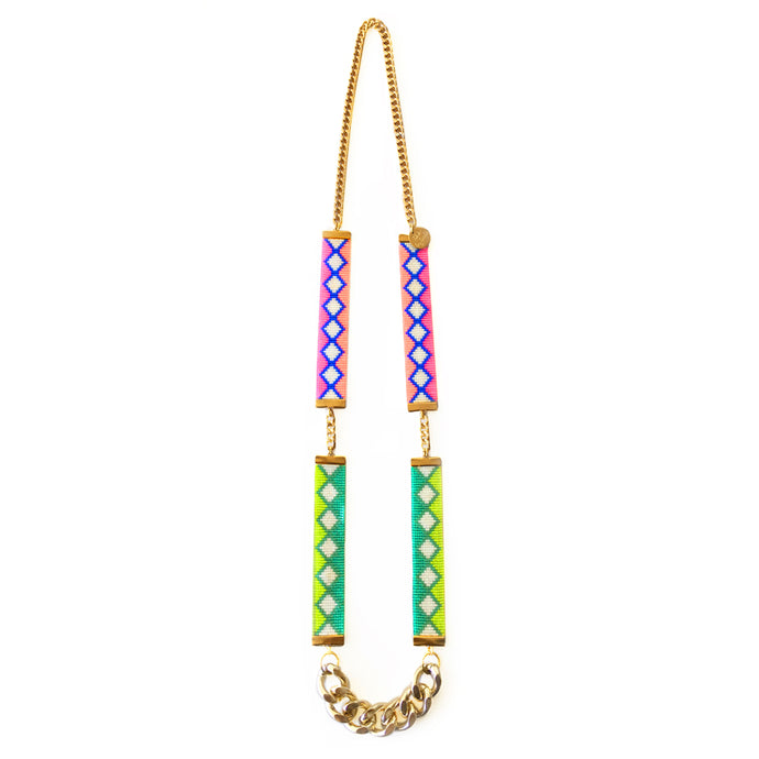 Ibiza Woven Beaded Necklace - Lime and Coral - CalicoMarket