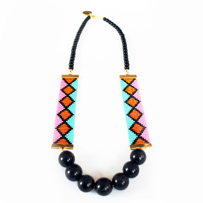 Miami Nights Woven Necklace - Pink and Turquoise - CalicoMarket