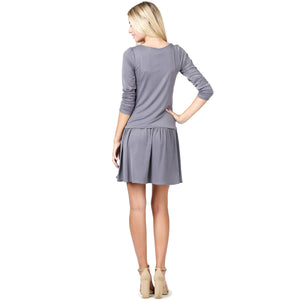 Short Cowlneck Tank A Line Day Casual 2 Piece Long Sleeve Dress - CalicoMarket