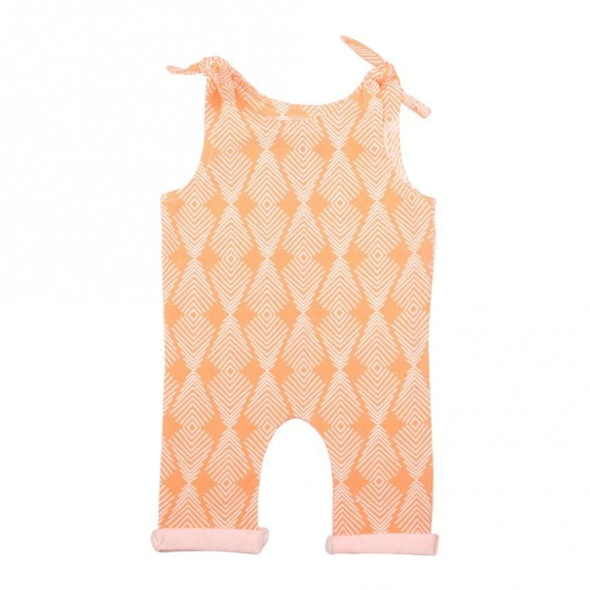 Apricot Tie Girls Romper for Babies and Toddlers - CalicoMarket