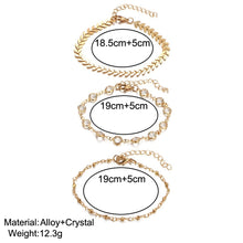 Load image into Gallery viewer, 3Pcs/set Crystal Gold Anklet Alloy Multi-layer Foot Chain Summer Beach Bracelet Women Jewelry - CalicoMarket
