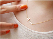 Load image into Gallery viewer, Women's Gold or Silver Plated Small Tiny Horizontal Sideways Cross  Choker Pendant Necklace/YYC - CalicoMarket