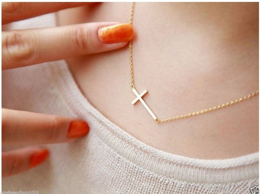 Women's Gold or Silver Plated Small Tiny Horizontal Sideways Cross  Choker Pendant Necklace/YYC - CalicoMarket