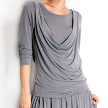 Load image into Gallery viewer, Short Cowlneck Tank A Line Day Casual 2 Piece Long Sleeve Dress - CalicoMarket