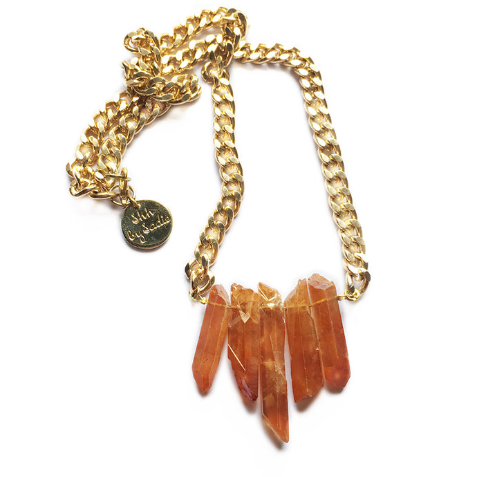 Rocked Up Mini Crystal Quartz Necklace (Amber) - CalicoMarket