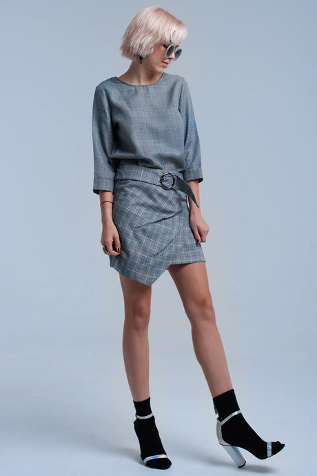 Gray Tartan Pattern Skirt With Buckle - CalicoMarket