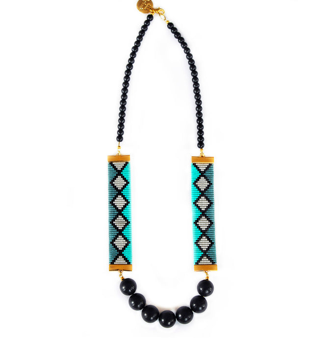Miami Nights Woven Necklace - Blue and Black - CalicoMarket