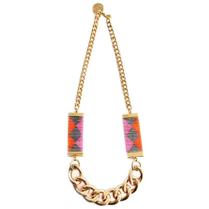 Priestess Woven Beaded Necklace - Pink / Green - CalicoMarket