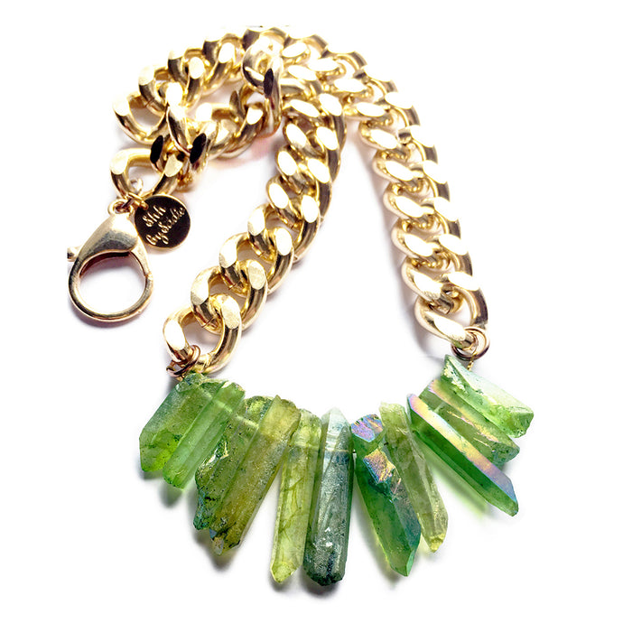 Rocked Up Crystal Quartz Necklace - Green - CalicoMarket