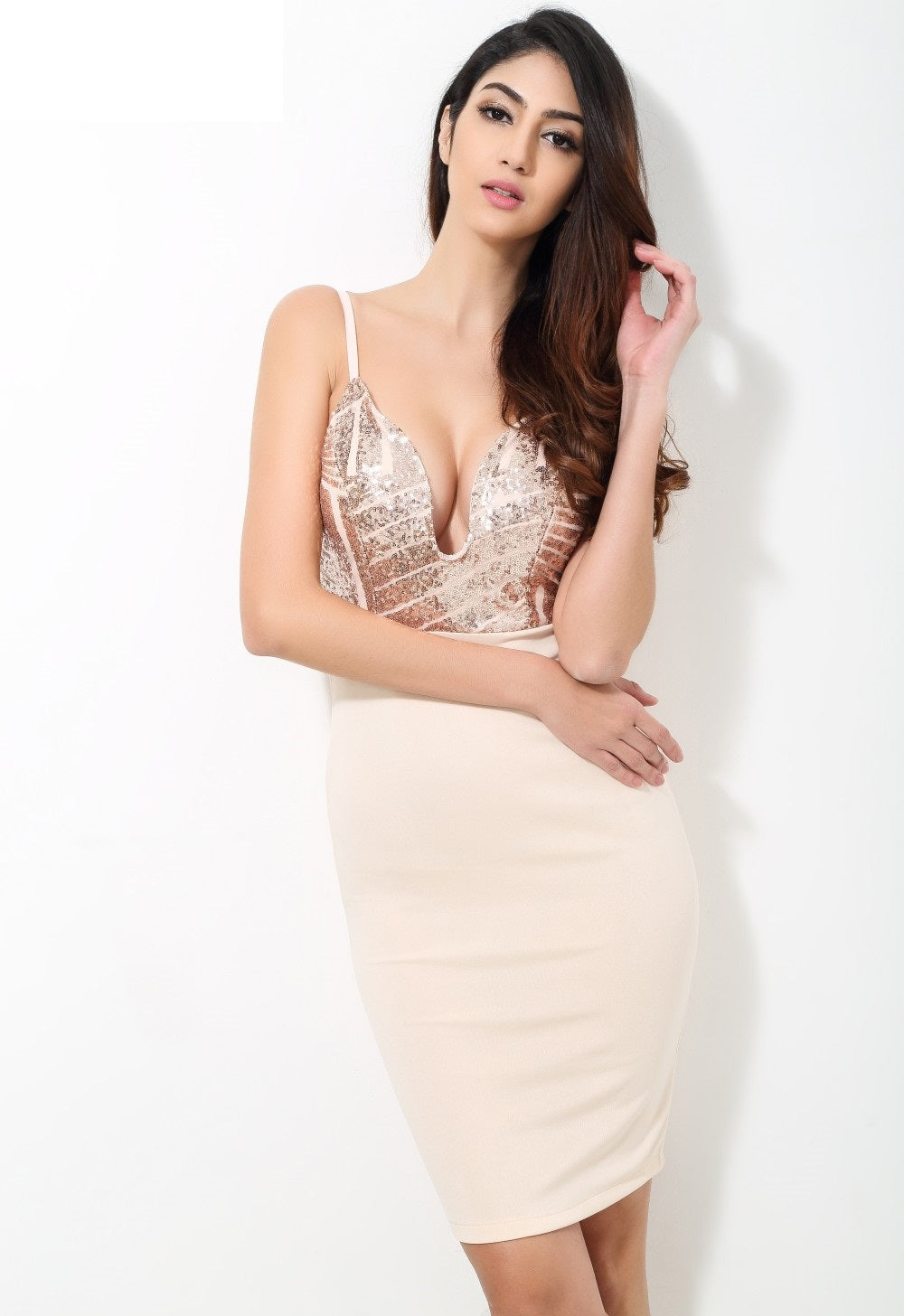 Beige Sequin V Neck Plunge Party Dress - CalicoMarket
