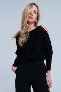 Black knitted sweater with pearl detail - CalicoMarket