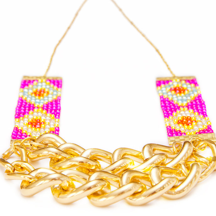Priestess Woven Beaded Necklace - Pink and Gold - CalicoMarket