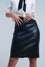 Load image into Gallery viewer, Black Midi Straight Faux Leather Skirt - CalicoMarket