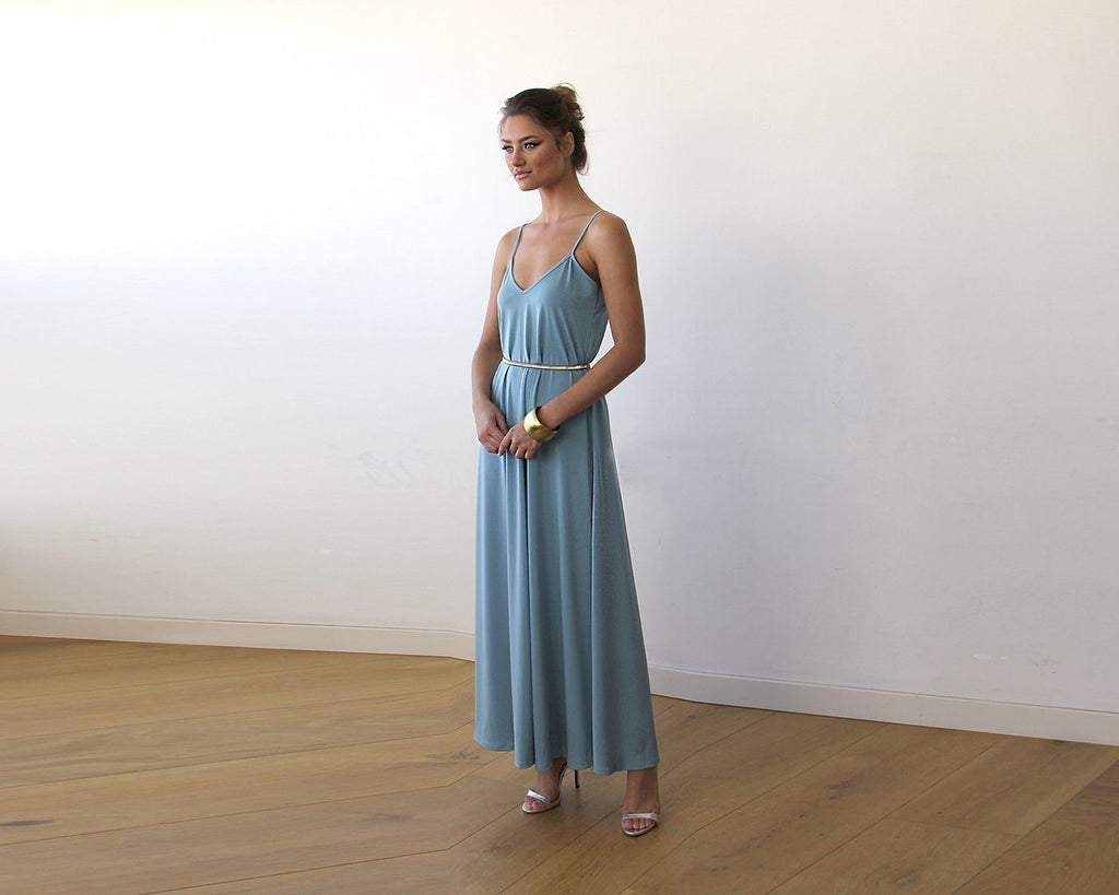 Aqua Blue Maxi Dress With Thin Straps 1026 - CalicoMarket