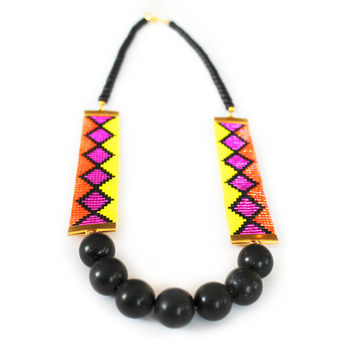 Miami Nights Woven Necklace - Orange and Pink - CalicoMarket