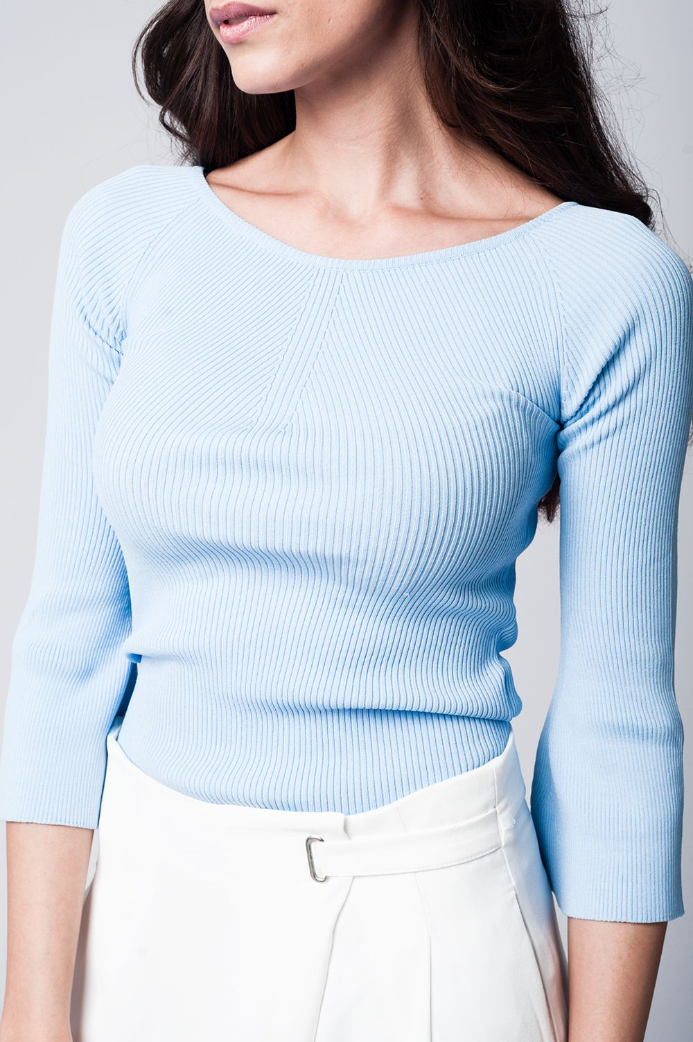 Blue Knitted Sweater With Texture Detail - CalicoMarket