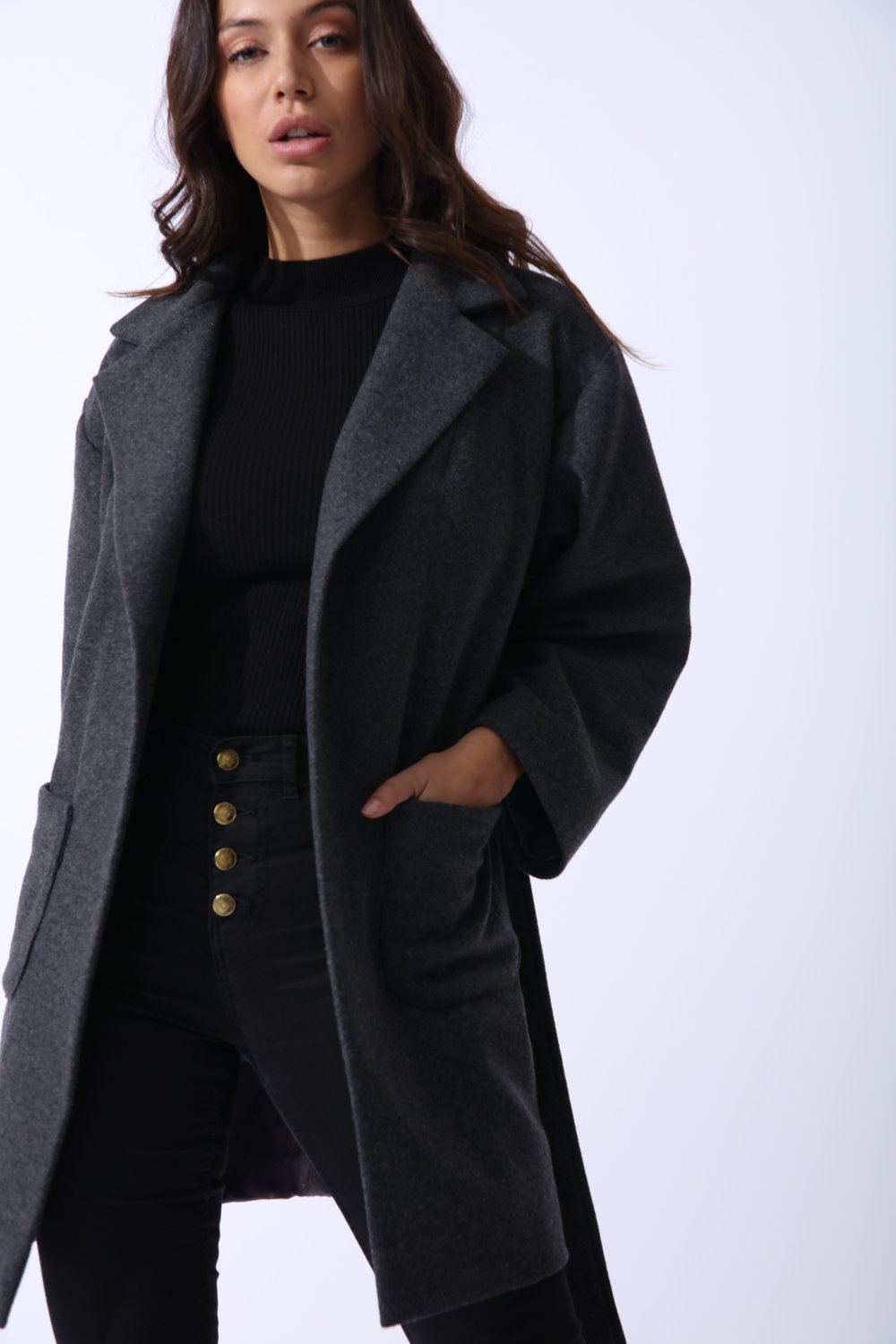 Wool Boyfriend Coat in Grey - CalicoMarket