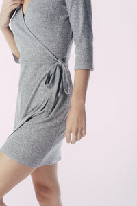 Wrap Knit dress with 3/4 sleeve - CalicoMarket