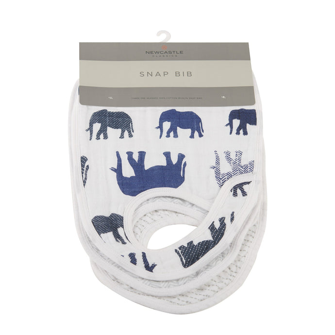 In The Wild Elephant Snap Bibs Set of 3 - CalicoMarket