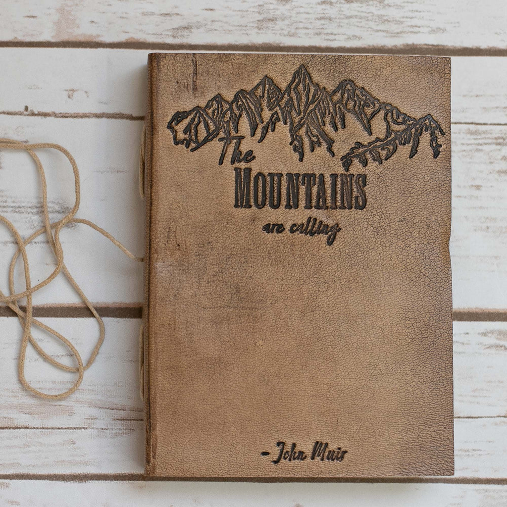 """The Mountains Are Calling"" Handmade Leather Journal - CalicoMarket"