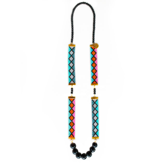 Miami Nights Long Woven Beaded Necklace  - Pink and Turquoise - CalicoMarket