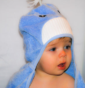 Bamboo rayon Whale Hooded Turkish Towel: Baby - CalicoMarket