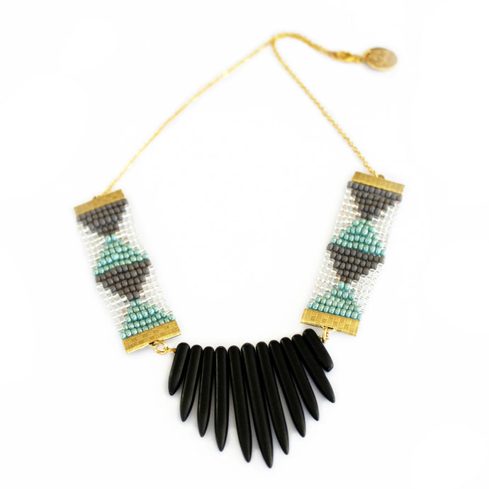 Adorn Spike Necklace - Grey and Green With Black Spikes - CalicoMarket