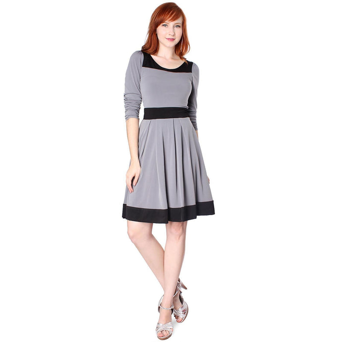 Evanese Women's Casual Two Tone Long Sleeve Knee Length A Line Day Dress - CalicoMarket