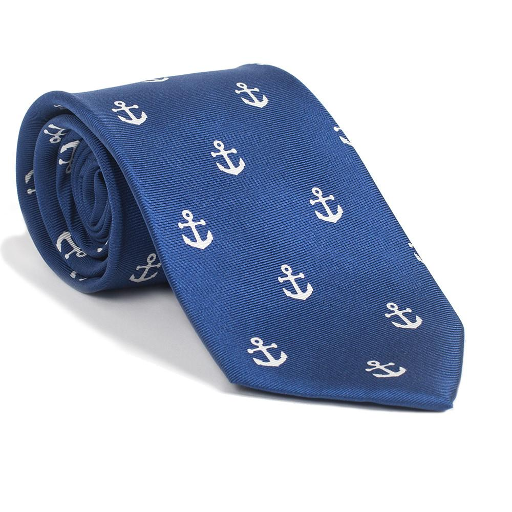 Anchor Necktie - Navy, Printed Silk - CalicoMarket