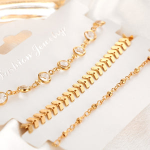 3Pcs/set Crystal Gold Anklet Alloy Multi-layer Foot Chain Summer Beach Bracelet Women Jewelry - CalicoMarket