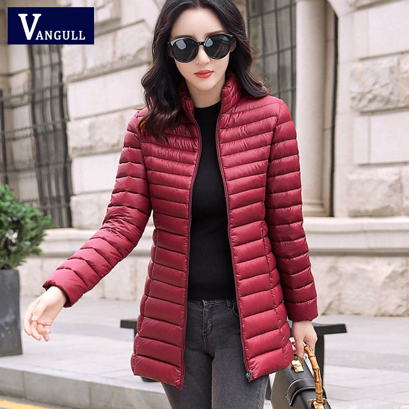Vangull Winter Women Warm Basic Jacket Female Slim Brand Cotton Parkas 2019 Autumn New Casual Long Sleeve Zipper Pocket Coat - CalicoMarket