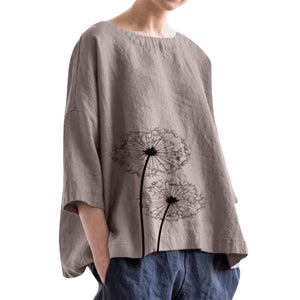 Women Cotton Printing Blouses Casual Plus Size Linen Loose Daily Blouse Beach Simple Ladies Streetwear Shirt Tops#Gu - CalicoMarket