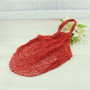 Mesh Net Shopping Bag Reusable Grocery Bag Eco Friendly Woven Cotton Bag Totes Fruit Storage Handbag Casual Handbag One Piece - CalicoMarket