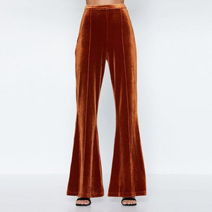 Solid Color Velvet Textured Trousers - CalicoMarket